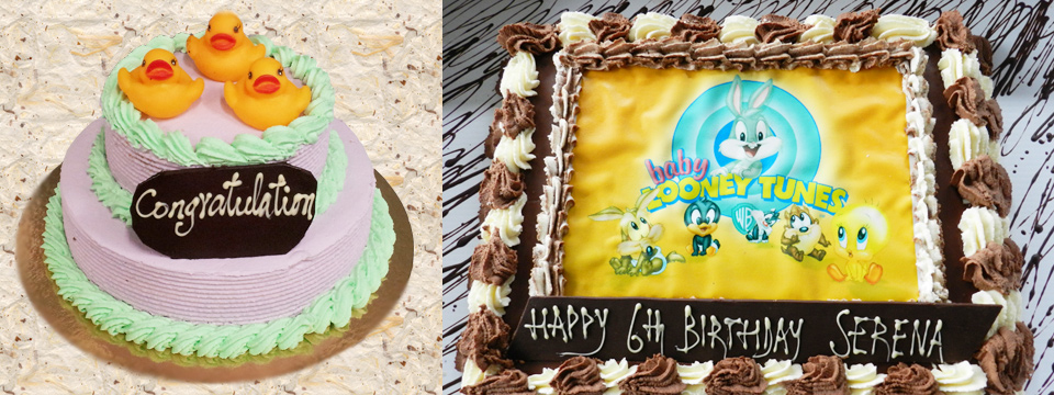 A Baby is Born Rubber Ducky Cake  and Looney Toons Birthday Cake