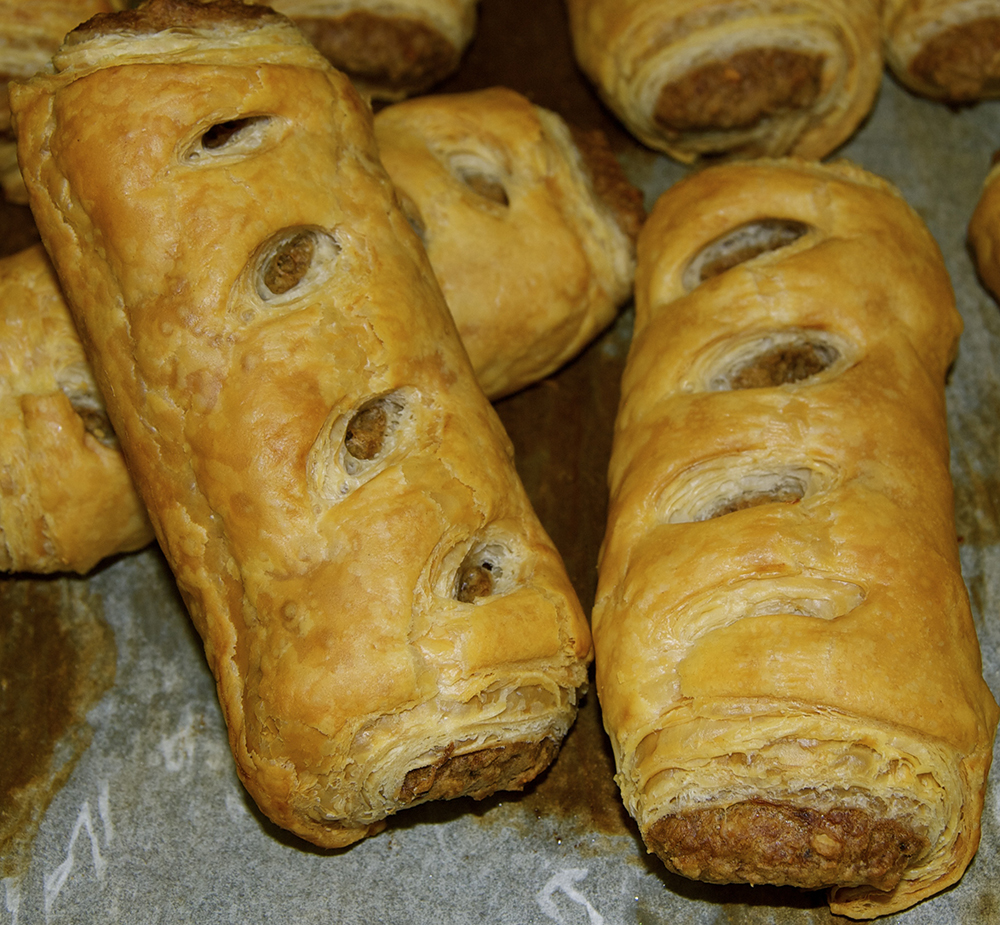 Sausage Rolls fresh out of the oven at Steveston Bakery