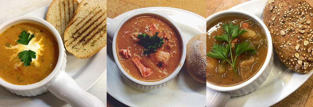 Butter Chicken Soup, Salmon Chowder Soup, and Hearty Beef Vegetable Soup