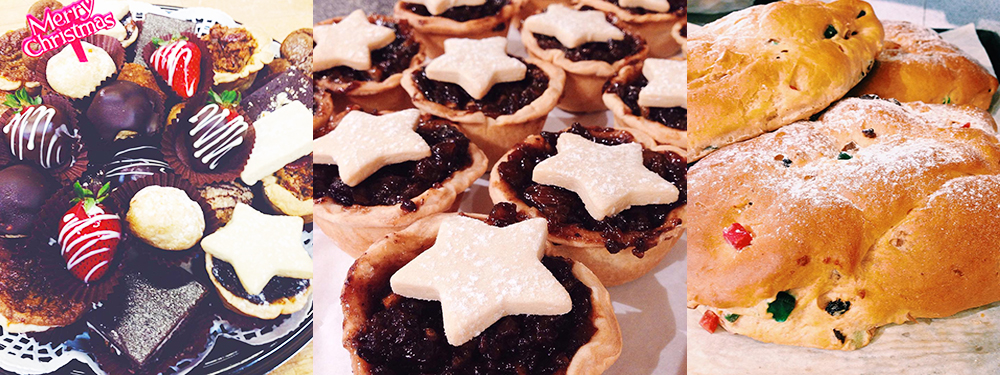 Christmas petit four tray, mincemeat tart, and Stollen