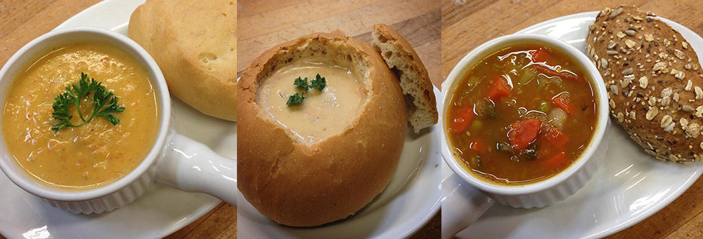 Creamy sweet potato and yam, Clam chowder bread bowl, and Hearty vegetable