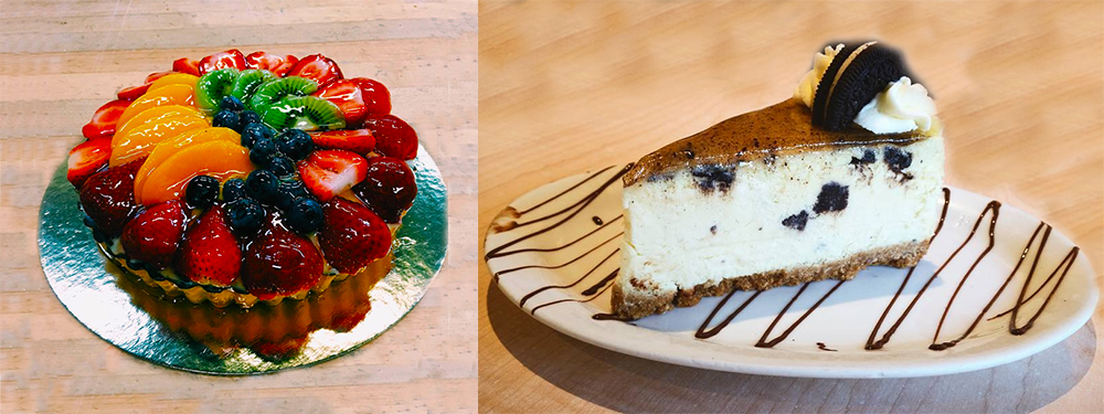 Fresh Fruit Flan and Custom Oreo Cheesecake