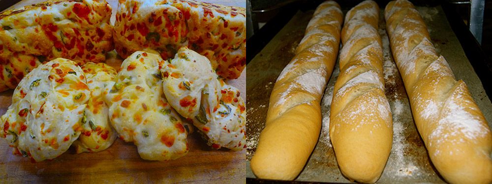 Jalapeno Cheese Bread and Fresh out of the oven Baguettes