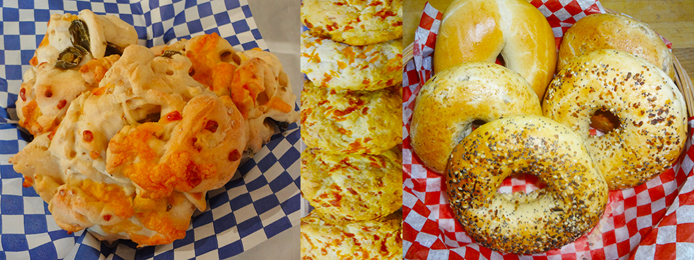 Jalapeno and Cheese Bun, Cheese Scones, and Bagels