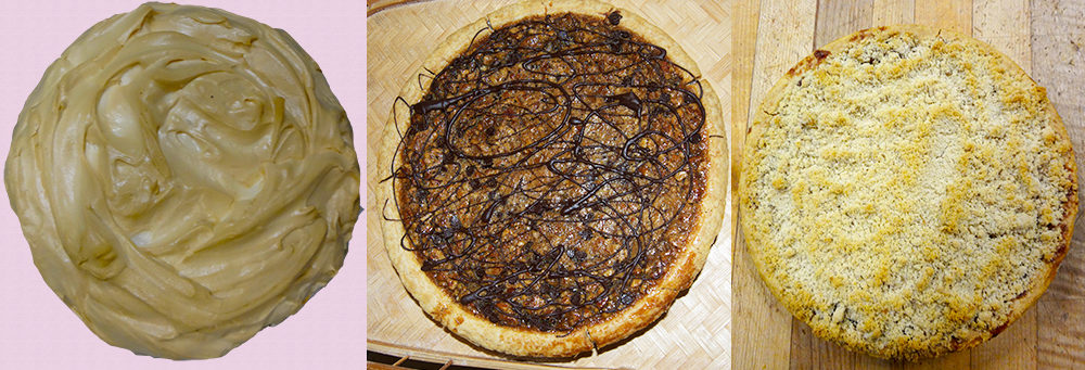 Lemon Meringue Pie, Chocolate Pecan Pie, and Swiss Apple Crumble Pie