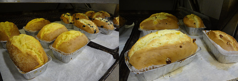 Mango Coconut, Blueberry, Peach Pecan Loaves coming out of the oven