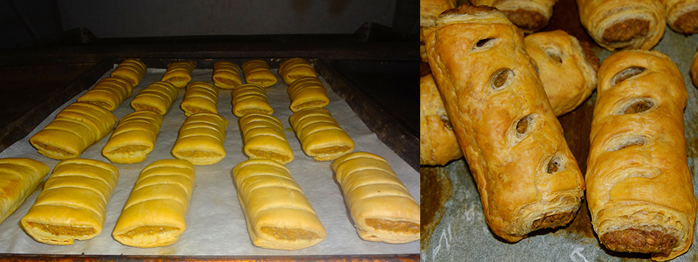 Sausage Rolls Rising in the oven and fresh out of the oven