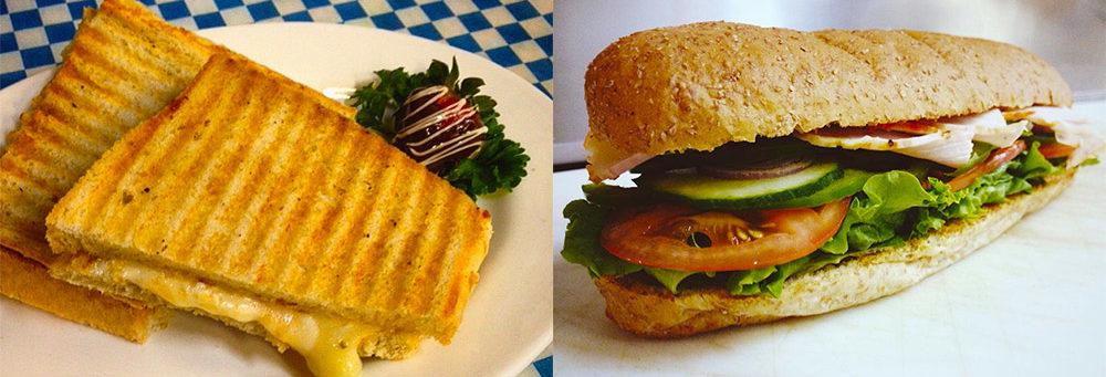 Three cheese panini and 6 inch Turkey sub with fresh veggies